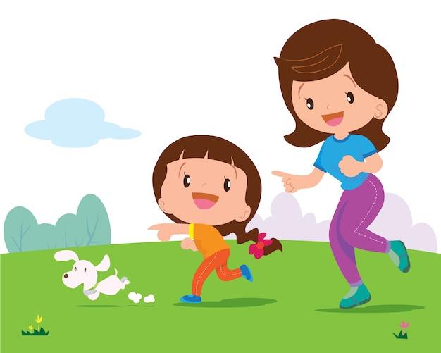 Menina, e, mãe, movimentando-se