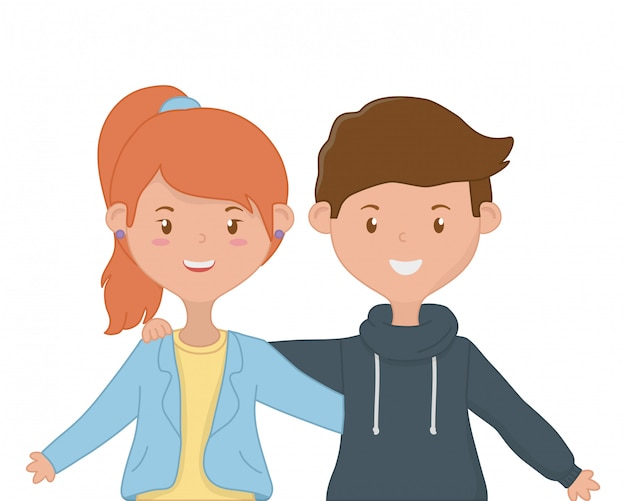 Menina e menino amizade design