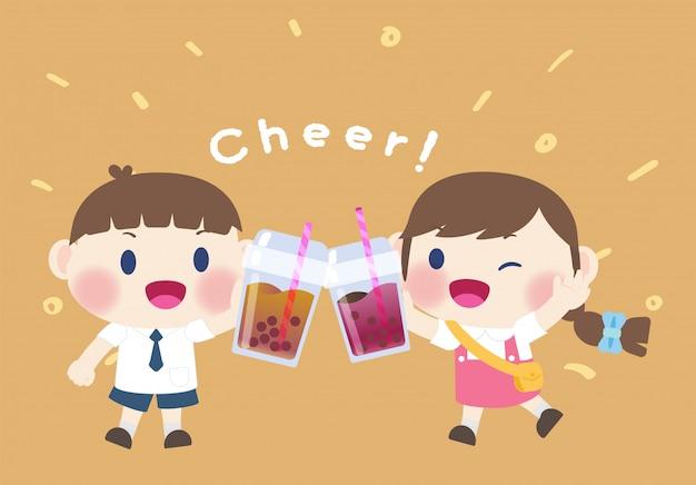 Menina e menino bonito feliz bebem bebida boba chá