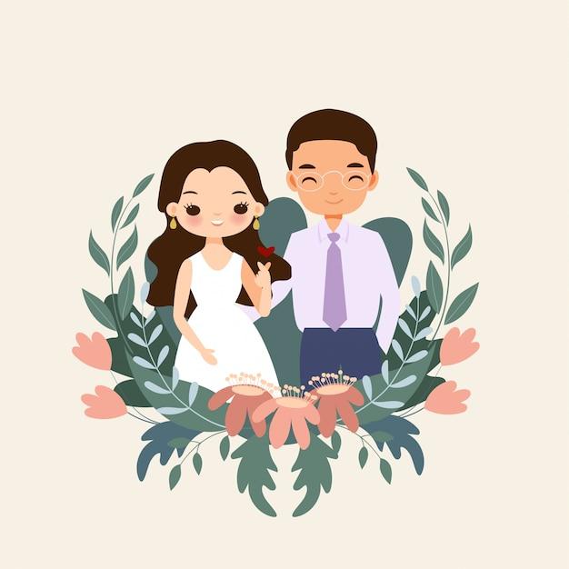 Menina e menino bonito inlove juntos personagem de desenho animado com coroa de flores