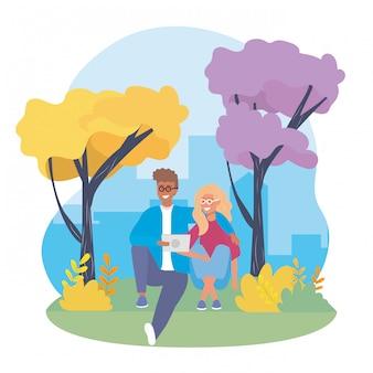Menina e menino casal com árvores e roupas casuais