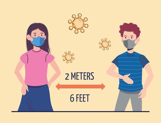 Menina e menino com máscara e prevenção de distanciamento