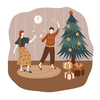 Menina e menino comemorando feliz natal e feliz ano novo em uma casa aconchegante