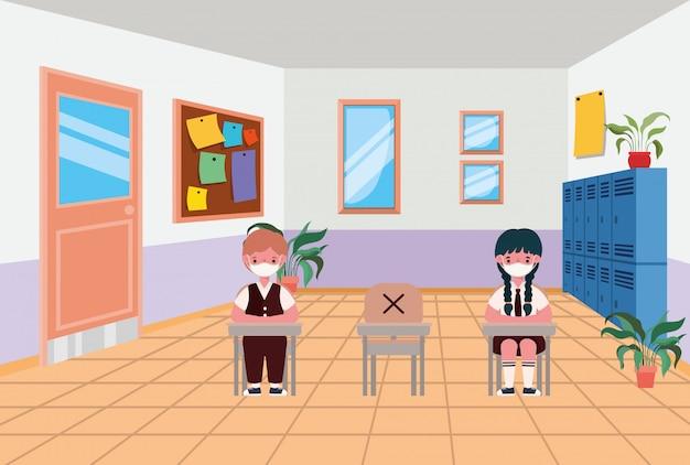Menina e menino crianças com máscaras na sala de aula