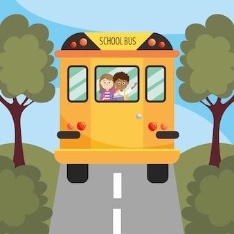 Menina e menino estudantes no ônibus escolar