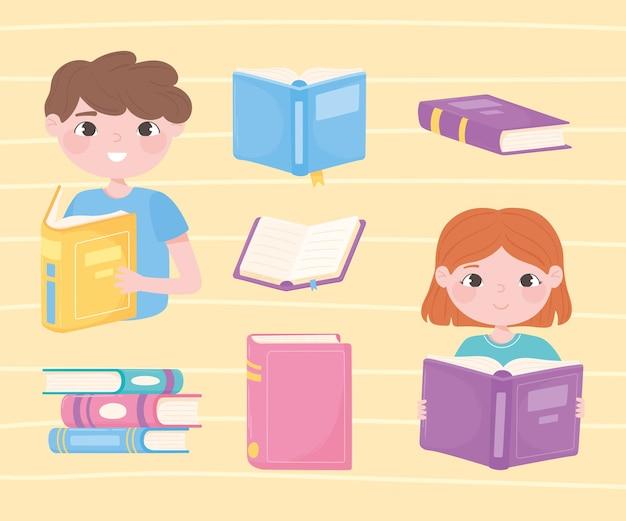 Menina e menino lendo livros, abrindo livros didáticos literários acadêmicos e aprendendo ícones