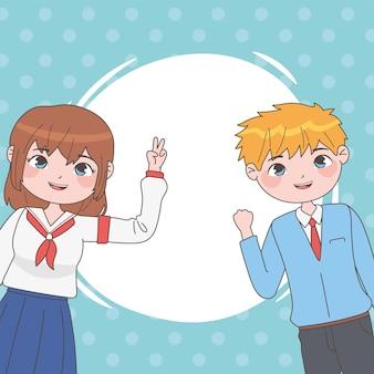 Menina e menino no estilo mangá com círculo branco