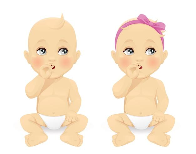Menina e menino pensando com o dedo na boca