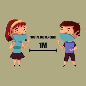 Menina e menino usam máscara fazendo distanciamento físico