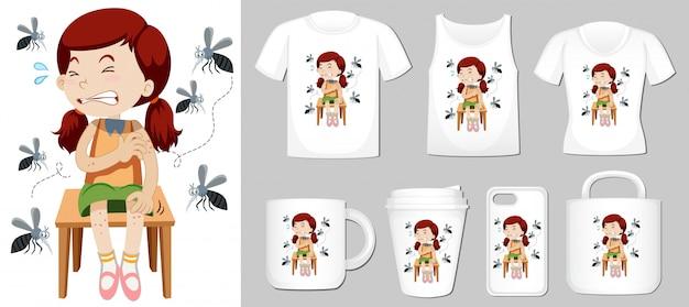 Menina e mosquitos em diferentes modelos de produtos