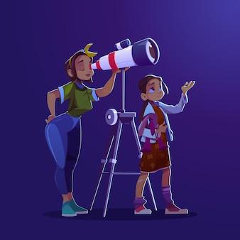 Menina e mulher olhando através do conceito de telescópio de exploração de cosmos de educação de astronomia e discoteca ...