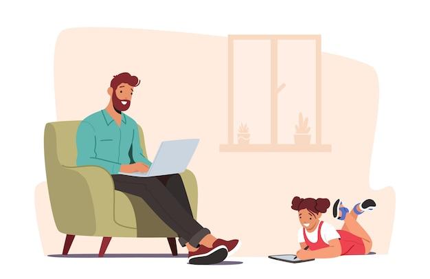Menina e pai conversando on-line usando laptop e tablet