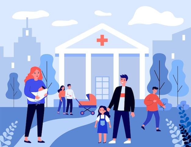Menina e pai visitando a mãe com bebê no hospital