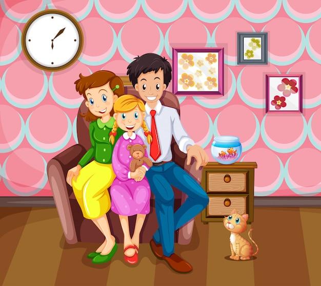 Menina e sua família na sala de estar