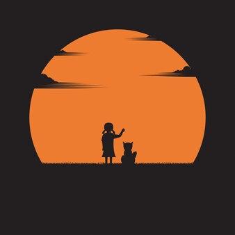 Menina e um cachorro em um fundo por do sol