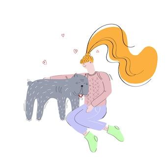 Menina e um cachorro