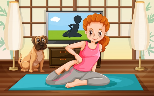 Menina e yoga
