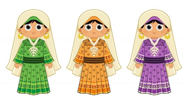 Menina egípcia de el nuba, vestindo um vestido tradicional