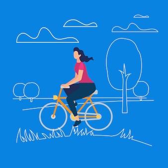 Menina elegante ativa, aproveitando o passeio de bicicleta ao ar livre