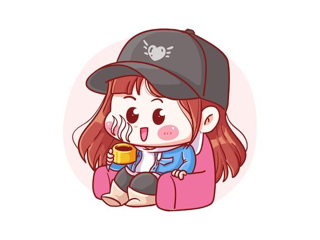 Menina elegante bonita e kawaii para relaxar e beber café ilustração manga chibi