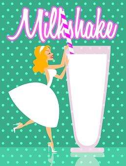 Menina elegante com ilustração de milk-shake