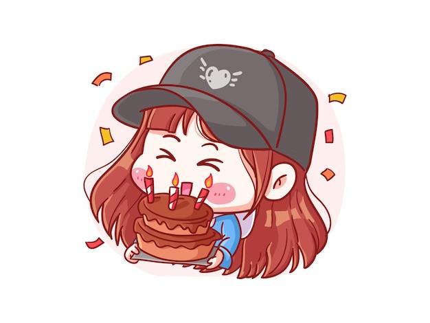Menina elegante fofa e kawaii comemora aniversário com ilustração de bolo manga chibi