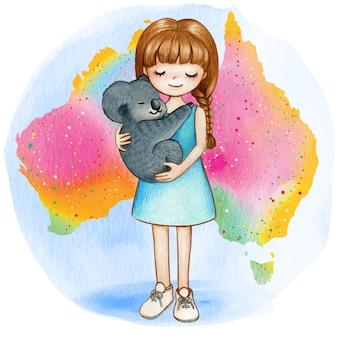 Menina em aquarela com coala no mapa do arco-íris australiano