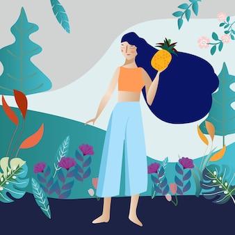 Menina, em, botânico, jardim flor tropical