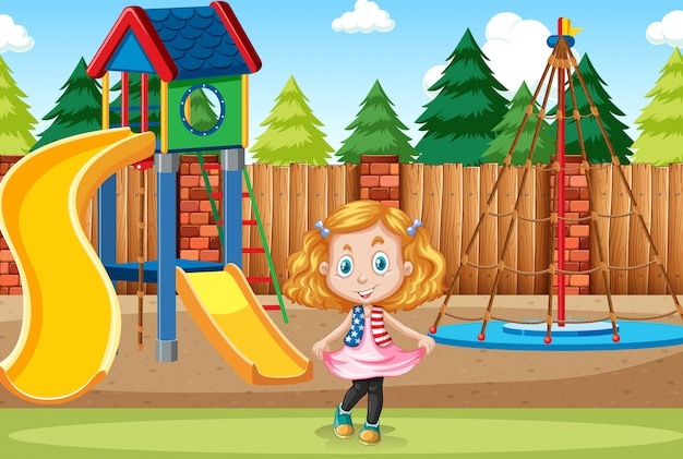 Menina, em, cena playground