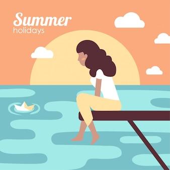Menina em férias de verão no mar