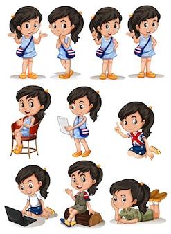 Menina em ilustração de ações diferentes