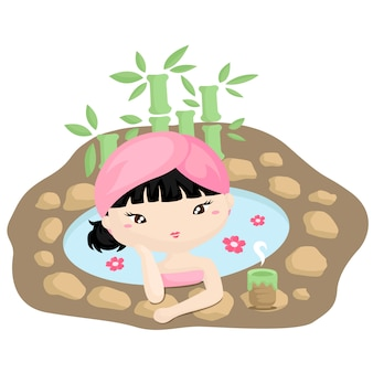 Menina, em, japoneses, spa