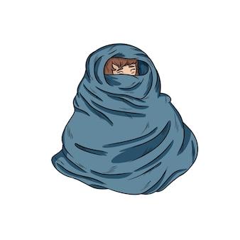 Menina, em, morno, cobertor aconchegante