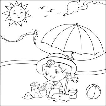Menina em preto e branco construindo um castelo de areia na praia ilustração vetorial