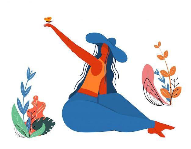 Menina, em, um, chapéu, com, um, borboleta