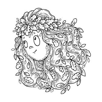 Menina em uma coroa de folhas de outono.