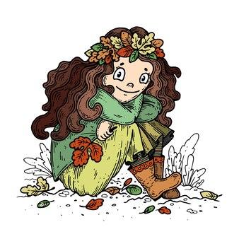 Menina em uma coroa de folhas de outono