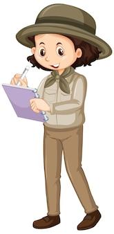 Menina em uniforme marrom escrevendo sobre fundo branco