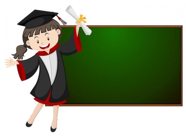 Menina, em, vestido graduação, por, a, quadro-negro