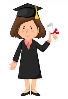 Menina, em, vestido graduação
