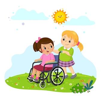 Menina empurrando a amiga em uma cadeira de rodas