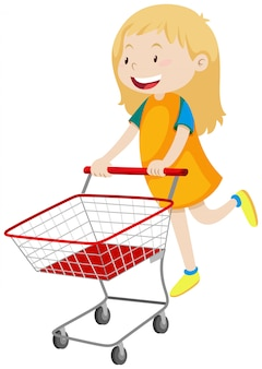 Menina empurrando carrinho de compras
