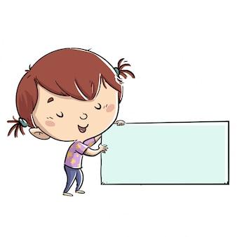 Menina ensinando algo em um cartaz