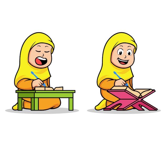 Menina escola islâmica crianças lendo o alcorão sagrado