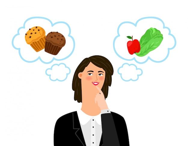 Menina escolhe entre alimentos pouco saudáveis e saudáveis. dieta, conceito de dietologia
