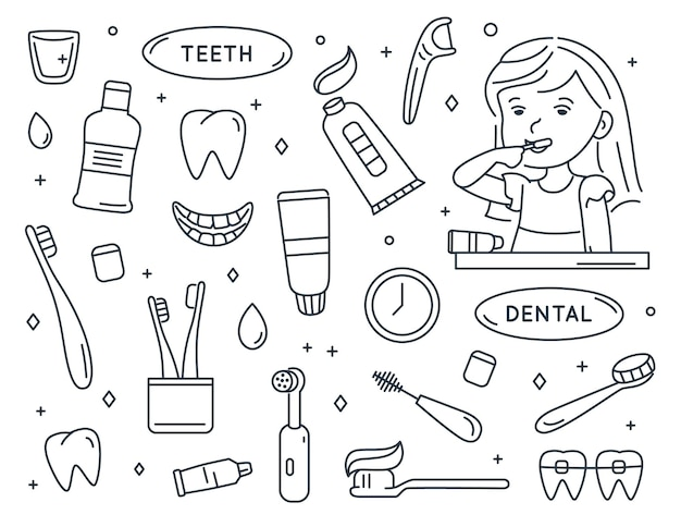 Menina escovando os dentes conjunto de artigos para a limpeza dos dentes assistência odontológica infantil