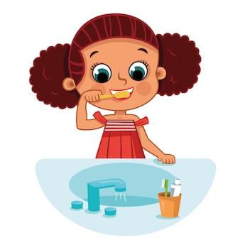 Menina escovando os dentes. ilustração vetorial