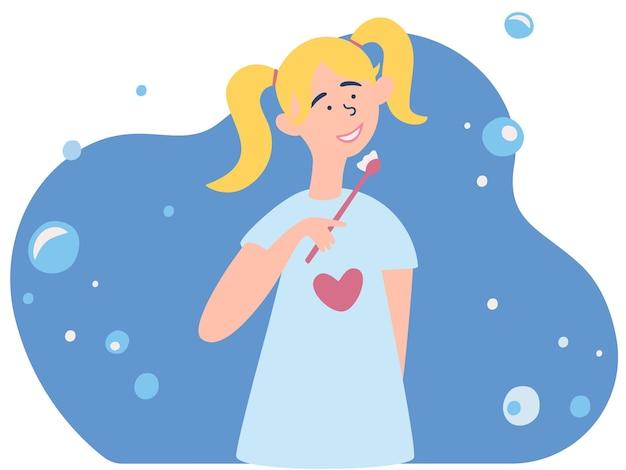 Menina escovando os dentes procedimento de higiene bucal ou dentalcuidados dentários para crianças