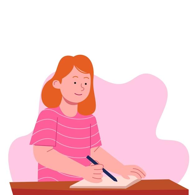 Menina escrevendo em design plano