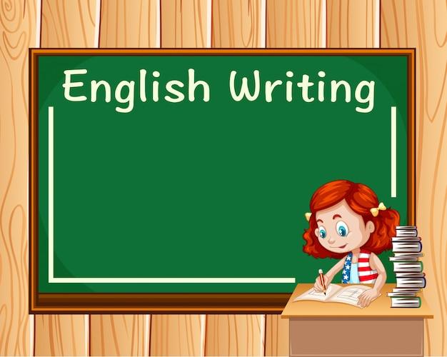 Menina escrevendo na aula de inglês